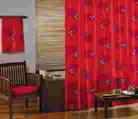 Textil-Duschvorhang 'CHINOISERIE' Design-Duschvorhang in 180x200 cm - roter Hintergr& mit diversen Motiven - beschwerter Saum - GELCO DESIGN
