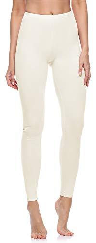 Merry Style Damen Lange Leggings aus Baumwolle MS10-198 (Ecru,M)