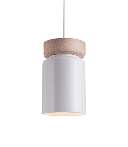 Lussiol 250560 Suspension, Céramique/Bois, 40 W, Blanc