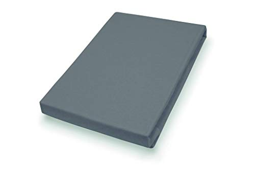 Premium Jersey Topper Hoeslaken met elastaan | antraciet 90-120 x 200-220 cm