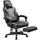 BOSSIN Racing Style Gaming Chair Office Computer Desk Chair with Footrest and Headrest, Ergonomic Design, Large Size High-Back E-Sports Chair, PU Leather Swivel Big and Tall Chair (Light Gray)