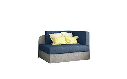 MOEBLO Schlafsessel, Sofa mit Schlaffunktion und Bettkasten,Couch für Kinderzimmer, Schlafsofa Schaumstoff Sofagarnitur Polstersofa - Raisa (Hellgrau+Blau (Omega 86+Omega 02))