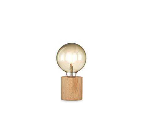 loxomo - Holz-Tischleuchte rund, Ø 9 x 9 cm, Holz Tischlampe mit E27 Fassung, Hue- und LED-Leuchtmittel kompatibel bis max.60W, Holz Eiche, ohne Leuchtmittel