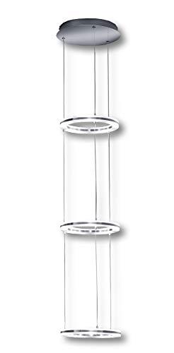 Deutsche LED Hängeleuchte Nickel matt mit Chrom 5000 Lumen Dimmbar [Energieklasse A]