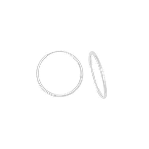 Boucles D'oreilles Créoles Rondes Lisses Flexibles Or Blanc (375/1000) 11MM