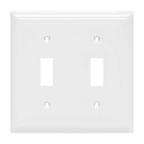 """Power Gear Double Oversized Wall Plate Cover, 2 Gang, Unbreakable Faceplate, x 4.9"""", Screws Included, White, 44756 Toggle Switch Wallplate, 1 Pack"""