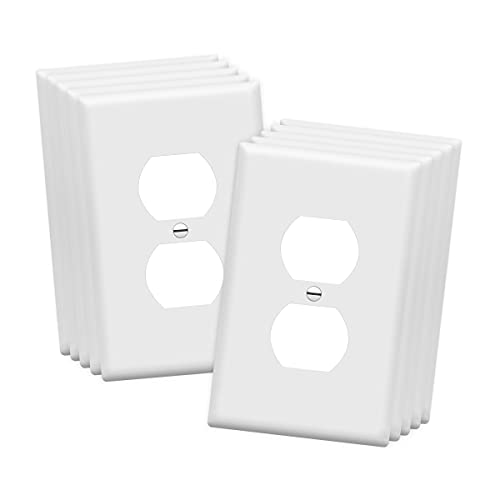 ENERLITES Mid-Size Duplex Receptacle Outlet Wall Plate, Electrical Outlet Covers Plates, Midway Size 1-Gang 4.88