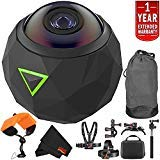 360fly 4K Waterproof Video Camera (FLYC4KC01BEN) Year Extended Warranty + Floating Strap + Clip Head Mount