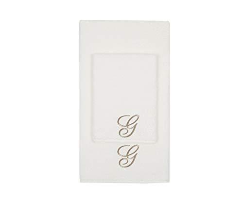 Juego de toallas con inicial bordado, toalla para la cara, toalla de invitados, iniciales bordadas, fabricadas en Italia, color crema bordado letra G color gris tostado