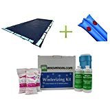 professional Swimline Rectangle Pool Cover 20 × 40'+ (12) Water Hose + Insulation Kit