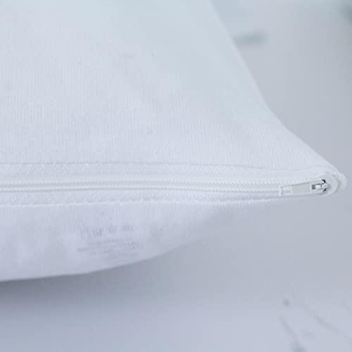 Funda Almohada Purpura Home Transpirable Suave Antiarrugas, con Cremallera, algodón Natural, Impermeable. (90 cm, Blanco)