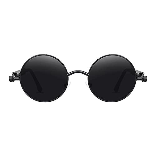 SM SunniMix Gafas de sol de círculo Steampunk Retro góticas de moda para mujeres y hombres montura de Metal de lente redonda, protección UV - Black Gray