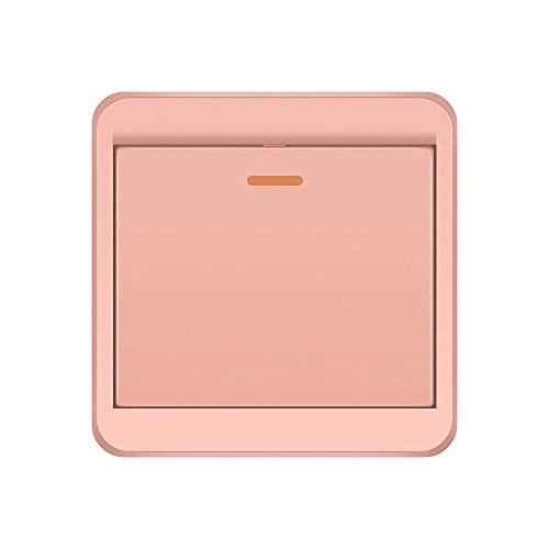 Powstro Single Gang Decorator - Interruptor de pared con placa de pared sin tornillos, ignífugo, inalámbrico, interruptor basculante de remo de encendido/apagado, color rosa dorado