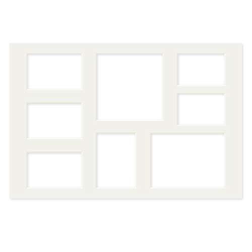 PHOTOLINI Galerie-Passepartout Weiß 40x60 cm für 8 Bilder (2X 9x13 cm, 3X 10x15 cm, 1x 11x15 cm, 1x 15x20 cm, 1x 18x18 cm) | Passepartout mit Mehrfachausschnitt