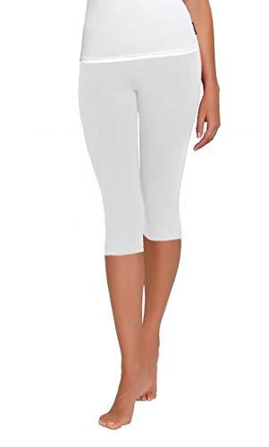 FUNGO Leggings 3/4 Lunghezza Leggins Da Donna Yoga Fitness Palestra Pantaloni F34 (36, Bianco)