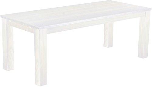 Brasilmöbel Esstisch Rio Classico 208x90 cm Pinie Weiß Massivholz Pinie Holz Esszimmertisch Echtholz Größe und Farbe wählbar ausziehbar vorgerichtet für Ansteckplatten