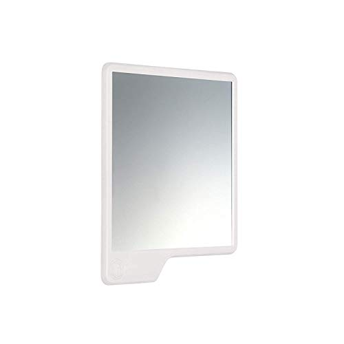 Tooletries - The Oliver (White) Silicone Waterproof Mighty Mirror, Silicone Toiletry Organizer, Shower And Bathroom. Features Silicone Grip Technology, Shower Mirror.