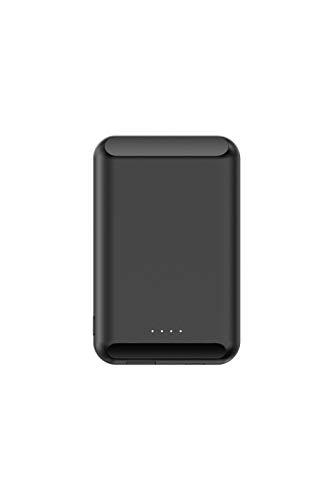 Mag-Safe Ladegerät Magnetische Adsorbierbare Mini Ultra Dünn Power Bank für iPhone 12 Pro Max Portable Magnet Handy Wireless Charging (Schwarz)
