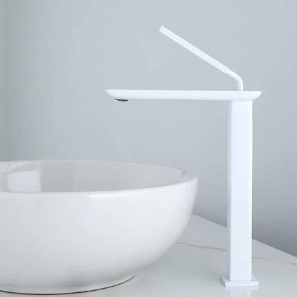 Grifo Grifo de lavabo frío y caliente negro Mezcladores de baño de latón cuadrados montados en cubierta de una manija Mezclador de lavabo de tocador blanco Grifo de lavabo