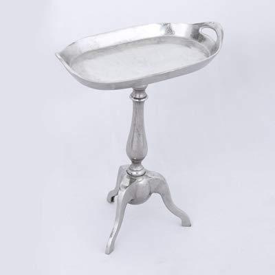 Beistelltisch Edler Tablett-Form Oval Aluminium Rough Silber