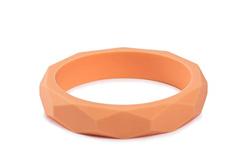 Baby J's Colourful Teething Mummy Child Bracelet Chewelry. BPA Free Food Grade Silicone. Variety of Colours (Peach)