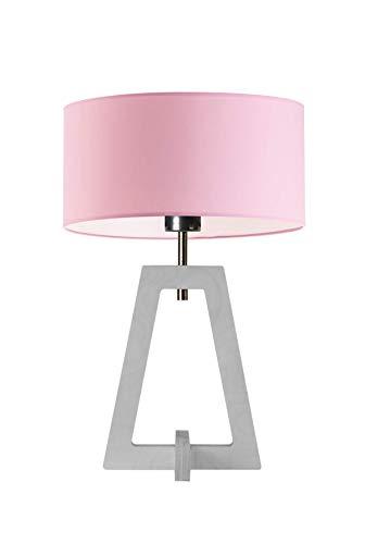 Clio - Lámpara de noche con pantalla de lámpara (marco de madera blanca), color rosa claro
