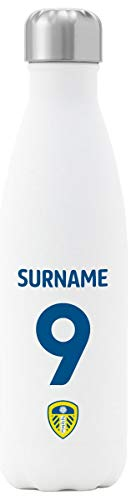 Personalised Leeds United FC Back Of Shirt Insulated Water Bottle - White