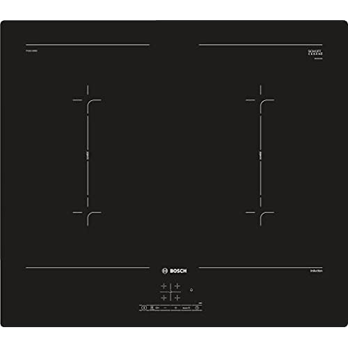 Bosch - Piano Cottura Induzione Serie 4, 60 Cm Nero, PVQ611BB5E, Piano Induzione 4 Fuochi Elettrico con Riconoscimento Automatico della Pentola, senza Cornice. Piano Cottura Induzione 4 Fuochi