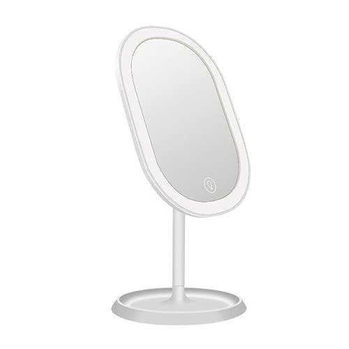 Selfie Anillo Luz 3 Niveles LED Iluminado Espejo de Maquillaje con Carga USB Pantalla Táctil Giratoria Mesa Espejo Cara de Vanidad para YouTube Video, Cámara Led Ring Light