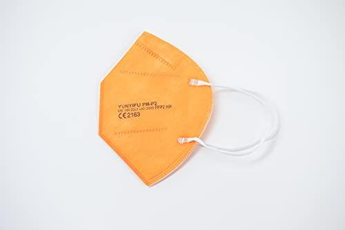 YUNYIFU FFP2 Maske orange | Mundschutz Maske FFP2 | ISO + CE zertifiziert | Atmungsaktiv | 10 Stück einzeln verpackt (Orange)