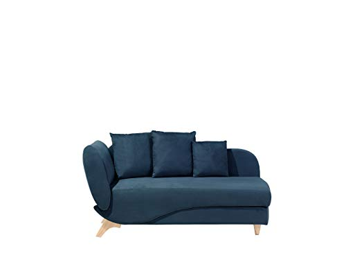 Beliani Stilvolle Recamiere Polsterbezug dunkelblau linksseitig Meri