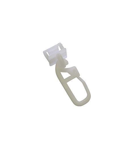 GARDINIA Klickgleiter inklusive Faltenlegehaken, 50 Stück, Für Vorhangschienen GE und P2Ü, Kunststoff, Weiß