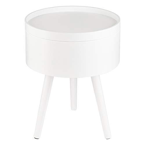 ONVAYA® Mesa auxiliar de madera, color blanco, diámetro de 35 cm, mesa de centro redonda, mesita de noche de pino, espacio de almacenamiento y tapa extraíble, diseño escandinavo moderno