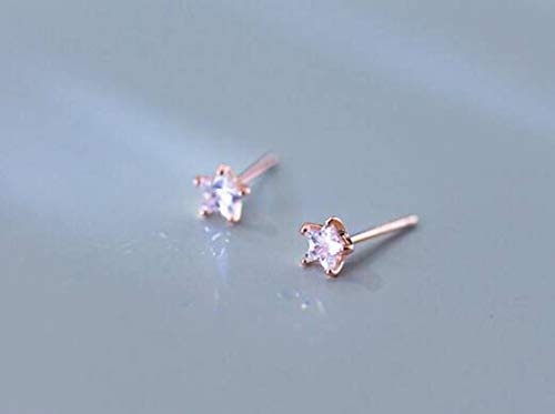 TYERY Pendientes de Plata S925, Pendientes de Estrella Pequeña de un Solo Diamante de Moda Coreana Femenina, Joyería de Oreja Nutritiva de Temperamentooro rosa, Plata 925