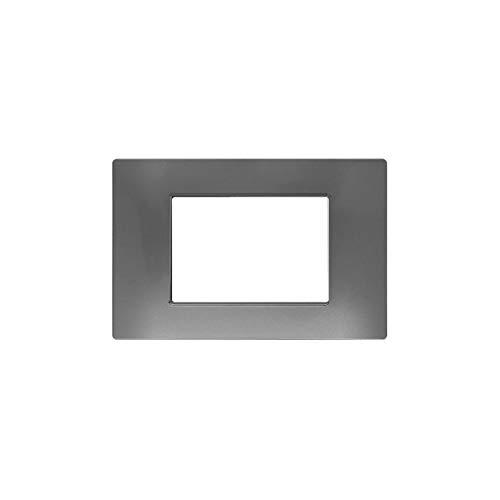 LineteckLED -M60038- Serie Completa di Placche per Interruttori Prese- Placca Topo Compatibile Vimar - Serie Plana (Topo 3Posti)