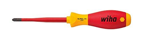 Wiha 32811080 Schraubendreher SoftFinish® electric slimFix PlusMinus/Pozidriv (36329) SL/PZ1 x 80 mm für tiefliegende Schrauben, ergonomischer Griff für kraftvolles Drehen, Allrounder für Elektriker, VDE-geprüft, stückgeprüft