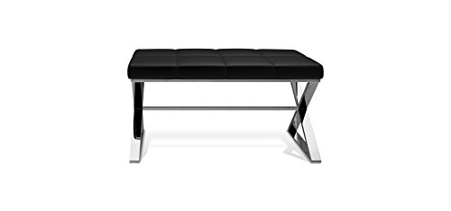 Read About DWBA Backless Vanity Stool Bench Chair with Brass Metal Crossed Legs (Chrome-Black)