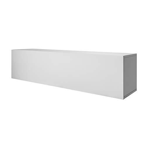 Riess Ambiente Moderner Design CUBUS 120 cm weiß Hochglanz 2 Fächer Wandregal TV Board Wohnzimmerschrank Wandschrank