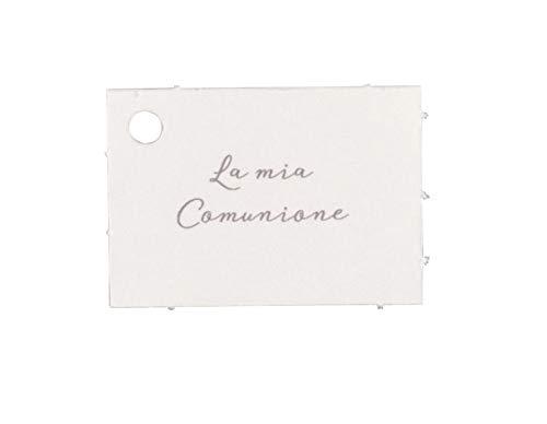 foglio A4 con 32 bigliettini targhette bianche LA MIA COMUNIONE per bomb