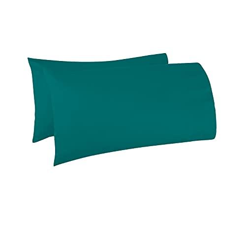 Pizuna - Juego de 2 Fundas de Almohada de algodón de 400 Hilos, Verde Azulado, 100% algodón de...