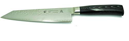 Tamahagane Tsubame SNMH-1133 - Coltello Kengata, 190 mm, con manico Mikarta nero e lama in acciaio martellato a 3 strati