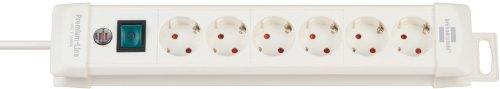 Brennenstuhl Premium-Line, Steckdosenleiste 6-fach (Steckerleiste mit Schalter und 3m Kabel - 45° Winkel der Schutzkontakt-Steckdosen, Made in Germany) weiß