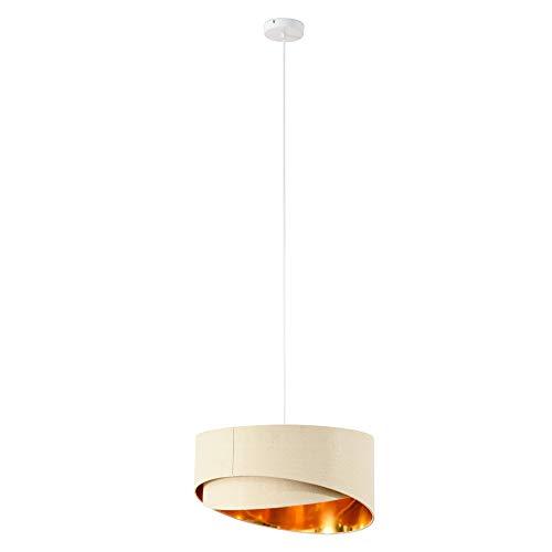 HOMCOM Deckenleuchte Kronleuchter Deckenlampe mit zwei abgeschrägte Lampenschirme für Büro, Wohnzimmer, Esszimmer, Stahl, Leinen, Beige+Gold, 50x50x136 cm