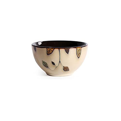 SHASHA Vajilla Creativa,arroz casero de cerámica Japonesa Pintado a Mano,Postre,Sopa,Fideos,ensaladera,también como Plato pequeño (Vine Leaves,4.5in)