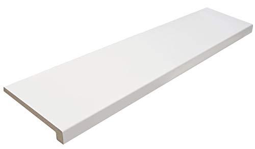 GASPO Fensterbank aus Holz, Weiß, Fensterbrett inklusive Seitenabschluss, frei zuschneidbar 1100 mm x 250 mm, Qualität aus Österreich