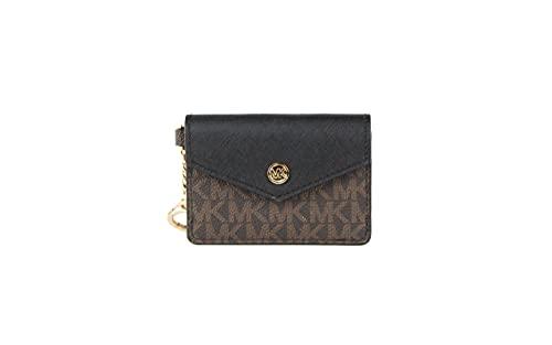 Michael Kors Kala Small Flap Key Ring Card Case Wallet (Black-Brown)