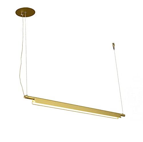 LED Modernas Comedor Lámpara De Suspensión Creatividad Lineal Lámpara Colgante Sala De Estar Luces Colgante Altura Ajustable 16W Aluminio Acrílico Iluminación Lámpara de Maquillaje L85CM,Oro