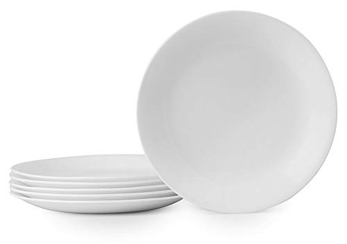 Corelle Winter Frost 6-Pack Lunch Plates, White 8.5' / 21.6cm