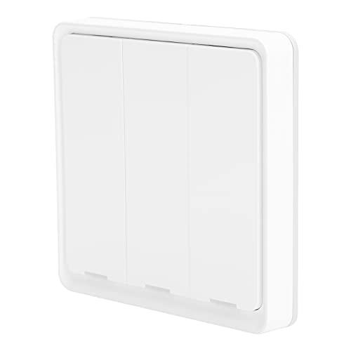 CUTULAMO Interruptor ZigBee, Interruptor inalámbrico, Pegatinas de Doble Cara, 3 Teclas para Dormitorio, Pasillo