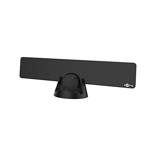 Goobay 67183 Ultraflache Full HD DVB-T2 Zimmerantenne, inkl. LTE/4G Filter, Box, Schwarz